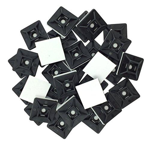intervisio Klebesockel für Kabelbinder 19 mm x 19mm Montagesockel Kabelbinderhalter Set Schraubsockel Selbstklebend Kabelschelle Klebepads Kabelhalter, schwarz, 100 Stück
