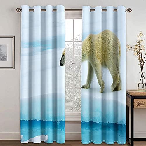 NuAnYI Cortinas Térmicas Aislantes Azul Glaciar Animal Oso Polar 3D Cortinas De Impresión con Ojales,Insonorizante...