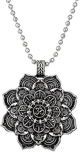LBBYLFFF Collar Moda Retro Tibet Collar Espiritual Flor Vida Mandala Colgante Collar Mujeres Hombres Geometría Amuleto Yoga Choader Joyería Religiosa