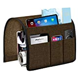 Joywell Armchair Caddy 5 Pockets Remote Holder on Couch & Chair Arm for TV Remote Control, Sofa Armrest Organizer for Magazine, Books, Cell Phone, iPad, Chocolate