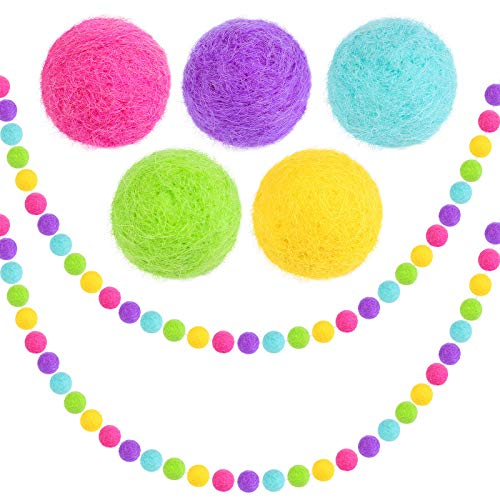 Aneco 2 Strings Multicolor Easter Felt Ball Garlands 6.6 Feet Colorful Easter Pompom Garland Party Supplies Hanging Decor for Indoor Outdoor Spring Easter Wall Tree Garden Decorations