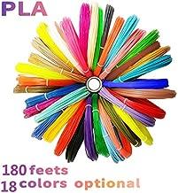 7TECH 3D Pen Filament Refills PLA 1.75mm 180 Feet with 280 Stencil E-Book (Wood,Silver,Gold,Copper,6 Fluo,6 Common),High-Precision Diameter Filament