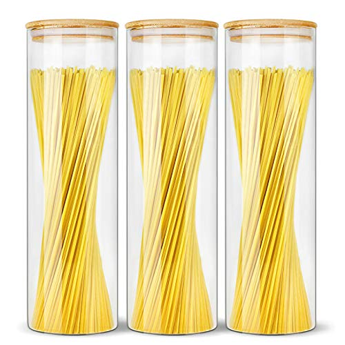 EcoEvo Glasdosen mit Bambus-Deckeln, luftdichte Vorratsdosen-Sets, Vorratsdosen, Vorratsdosen, Küchenbehälter, Gewürzgläser, Glasdosen mit luftdichten Deckeln (3er-Pack)