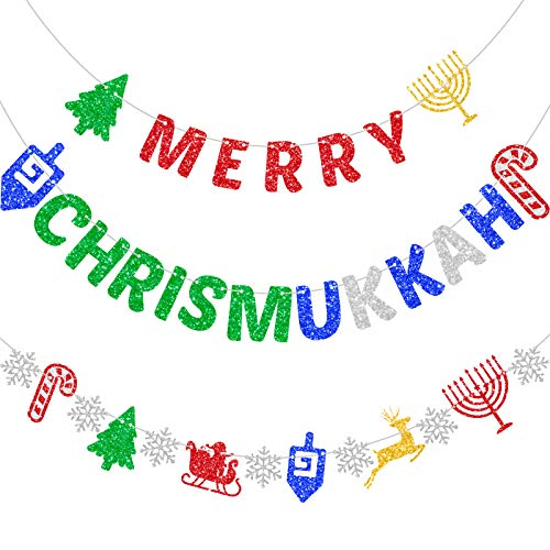 Merry Chrismukkah Banner Glitter Mixed Christmas Hanukkah Banner Christmas Banner Hanukkah Banner Xmas Party Decorations Chanukah Festival Party Supplies