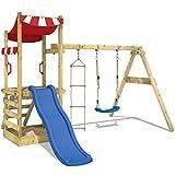 WICKEY Spielturm FunFlyer Spielhaus Kletterturm mit Schaukel Sandkasten Kletterleiter, blaue Rutsche...