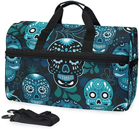 KUWT Mexico Sugar Skull Leaves Travel Duffel Bag for Women Men Sport Gym Bag with Shoes Compartment product image