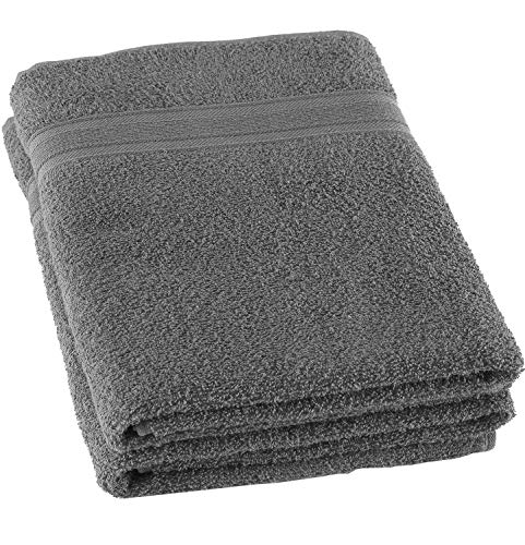 Lightweight Grey Bath Towels Quick-Dry High Absorbent 100% Turkish Cotton Lightweight Towel for Bathroom, Guests, Pool, Gym, Camp, Travel, College Dorm, Shower (Gray, 2 Pack Bath Towel)