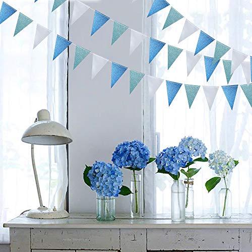 Juego de banderines de triángulo azul hielo para colgar bajo el mar, guirnalda de papel con purpurina para decoración de fiestas en el hogar, banderines colgantes para bodas, baby shower