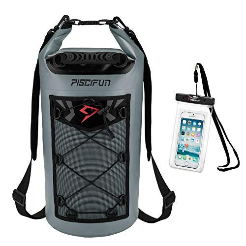 Piscifun Waterproof Dry Bag Backpack 20L Floating Dry Backpack with Waterproof Phone Case for Water Sports - Fishing Boating Kayaking Surfing Rafting Camping Gifts for Men and Women Grey