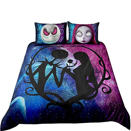 Nightmare Before Christmas Bedding Set, Nightmare Before Christmas Xmas Decor Gifts Jack Skellington Sally Comforter Duvet Cover with Pillow Case, Twin Size