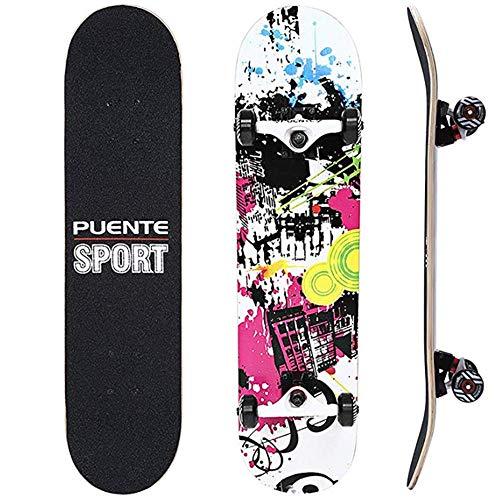 IDE Play Kateboard Deck, Erwachsene Kinder Skateboard, Komplettboard mit ABEC-9 Lager 7-Schicht 92A Hard Maple Deck, 31 x 8 lnches für Teen Anfänger,A