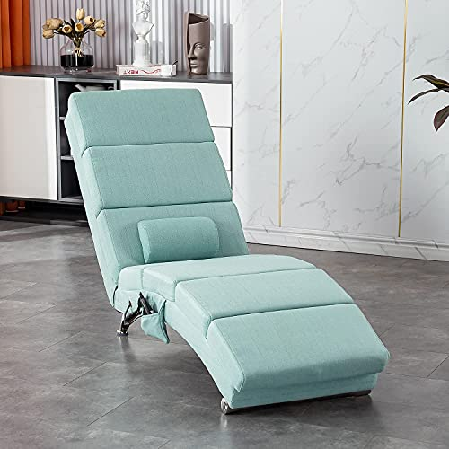 YOLENY Massage Chaise Lounge,Electric Recliner Heated Chair,Ergonomic Indoor Chair, Modern Long Lounger for Office or Living Room,Line Green