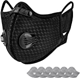 AstroAI Reusable Dust Mask with Filters - Adjustable for Woodworking, Construction, Outdoor (Black, 1 Mask + 6 Extra Activated Carbon Filters Included)