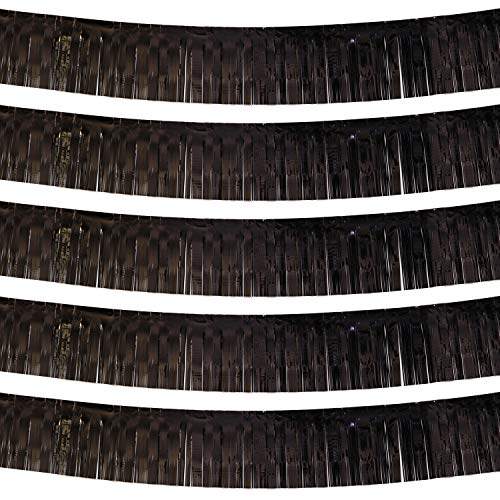 Black Parade Float Foil Fringe Skirting Decorations- Pack of 5 - Each 10 Feet by 15 Inch, Metallic Tinsel Drapes Garland Party Supplies for Bridal Shower, Bachelorette, Easter Day, Halloween