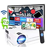 2021 Android 7.0 OS WiFi Smart 4K Mini Projector Pro,8500 Lux, 8000:1 Contrast, Wireless Home Entertainment,Compatible with Bluetooth/HDMI/WAN/Smart Phone/Laptop/PS4/DVD/TV Box&Stick