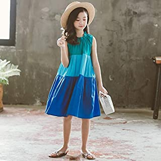 Girls Skirt Contrast Stitching Lace Neckline Sleeveless Contrast Stitching Dress High Quality (Color : Blue, Size : 150)