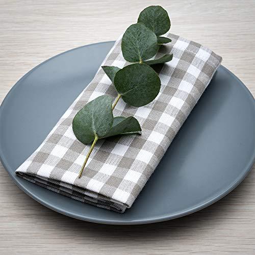 FILU Pack de 8 servilletas de tela de alta calidad con diseño de cuadros de lino y algodón, 45 x 45 cm, diseño escandinavo