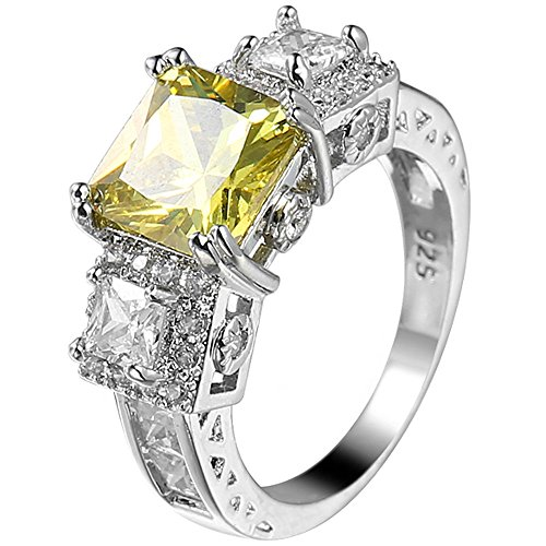 XAHH 925 Sterling Silver 3 Ct Princess Cut Yellow Cubic Zirconia CZ Engagement Wedding Ring Size 6 to 10 Size 9