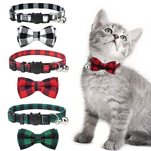 KITTAIL 3PCS Breakaway Bowtie Cat Collar with Bells - Plaid Pattern & Made of Natural Cotton -...