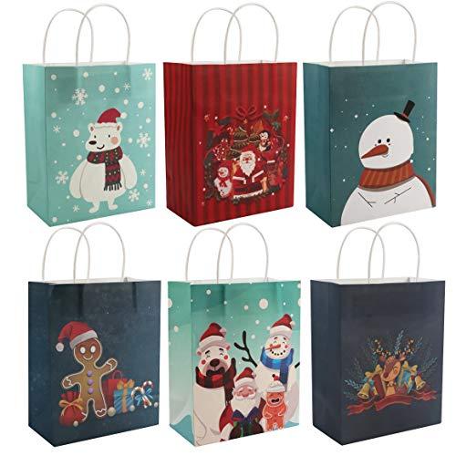 Geschenktüten Weihnachten (24 Stk) - 25 x 20 x 11 cm Geschenkverpackung Papiertüten mit Henkel & Weihnachtsmotive - Größe Medium Geschenktasche für Weihnachtsgeschenk, Gebäck, Party, Gastgeschenke