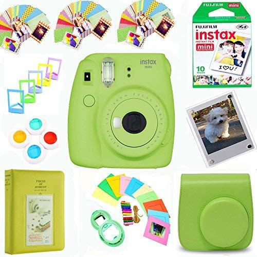 Fujifilm Instax Mini 9 Film Camera (Lime) + Film Pack(10 Shots) + Pleather Case + Filter Kit + Selfie Lens + Album + Self-Standing, Hanging Frames&Stick-on Frames Exclusive Instax Design Bundle