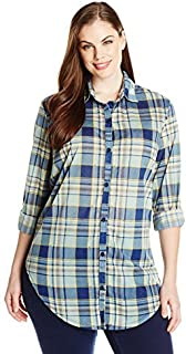 Paper + Tee Women's Plus-Size L/S Boyfriend Knit Plaid Shirt