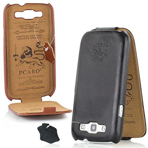 PCARO® Smooth Jazz Echtleder Hülle für Samsung-Galaxy-S3 Handmade Rindsleder Leder Tasche in Schwarz - Ledertasche inkl. Display Schutzfolie - ORIGINAL Cover