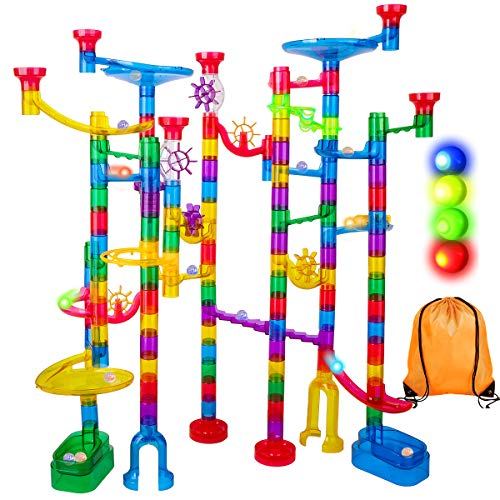Meland Marble Run Sets for Kids - 142Pcs Marble Race Track Marble Maze Madness Game STEM Building Tower Toy for 4 5 6 + Year Old Boys Girls(113 Pcs + 25 Glass + 4 Led Lighted Marbles)