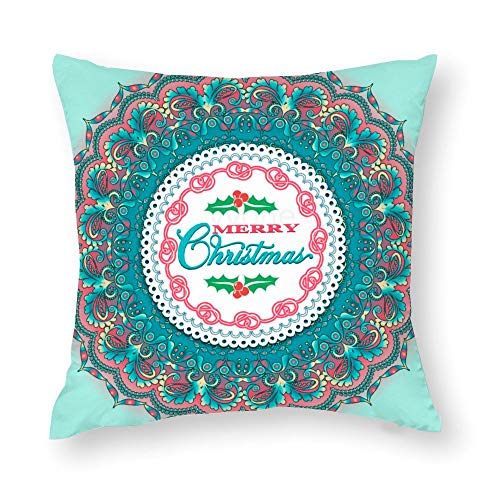 YY-one Decorative Throw Pillow Covers Christmas Card with Lace Ornament in Scandinavian Decorative Throw Pillow Case Cushion Cover Cotton For Sofa Couch Chair Seat,Square 22 X 22 Inches