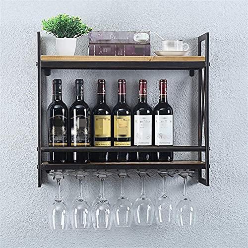 F66enghuijun Estante de Almacenamiento de Vino montado en la Pared Soporte de Soporte Organizador Mostrar Estante con 5 vitrinas de Vino para Almacenamiento de vinos