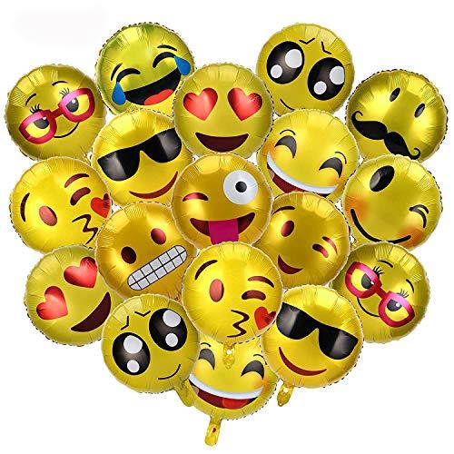 REYOK 30 Pz Palloncini Colorati Emoji Emoticon Palloncini Foil Ballons per Natale Compleanni Festa Matrimoni Party Decorazione Palloncini in Foglio Elio
