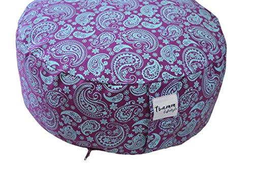Tvamm-Lifestyle Rund 7 Chakra Meditationskissen (Zafu) Buchweizenschalen, Ø 36 cm x 15 cm, Bezug und Inlett 100% Baumwolle, Bezug und Inlett maschinenwaschbar bis 30º C. (Lila&Blau)