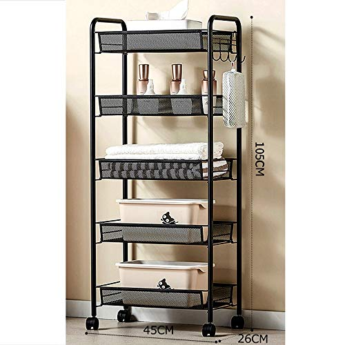5 Layers Trolley, Kitchen Storage Trolley, Handicraft Trolley, Multi-purpose Trolley, Wheeled Service Trolley, Service Rack, Storage Rack For Bathroom, Kitchen, Office (Color : Black)