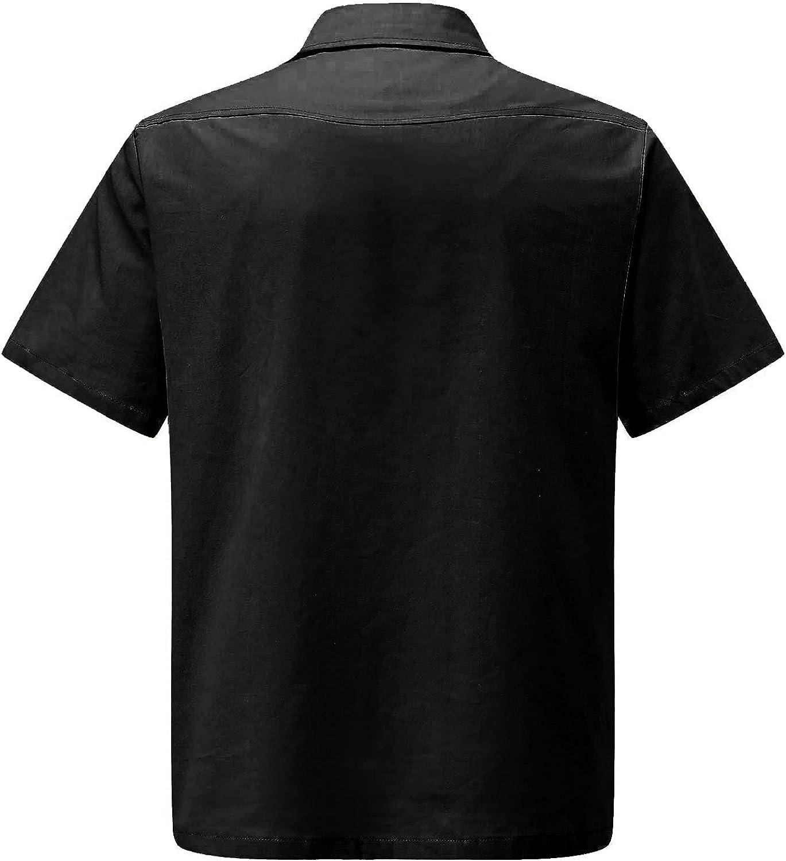 Men's Linen Henley Shirt Short Sleeve Casual Hippie Cotton Beach Button Down T Shirts Tops with Pockets