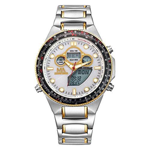 MeisterAnker Herren Funk-Solar-Uhr Edelstahl 23cm Edelstahl Silbergrau Chronograph Mineralglas 490000080