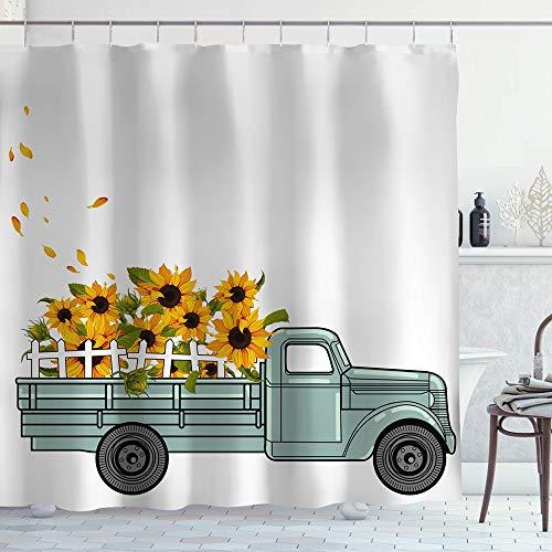 Irongarden Vintage Bauernhof-LKW Duschvorhang Landhaus Grün LKW Pull Sonnenblumen Home Decor Wasserdicht Badvorhänge mit Haken 183 x 183 cm gelb