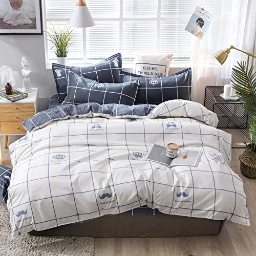 CYGJ Three-piece or four-piece set of fashionable bedding with zippersWhite and black plaid1.2m three-piece set