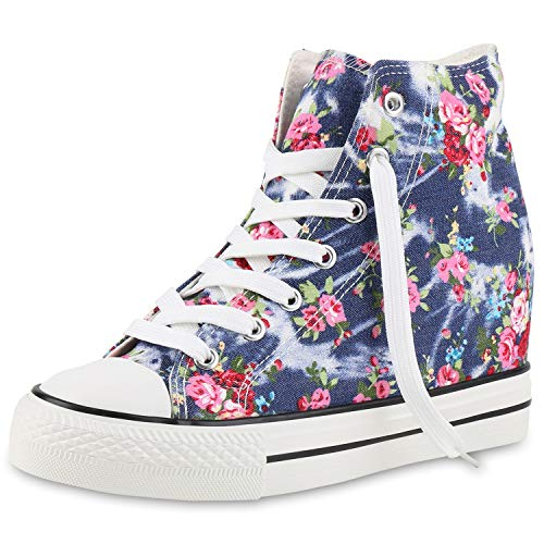 SCARPE VITA Damen Sneakers Keilabsatz Sneaker-Wedges Stoffschuhe Schnürer 165864 Dunkelblau Blumen 38