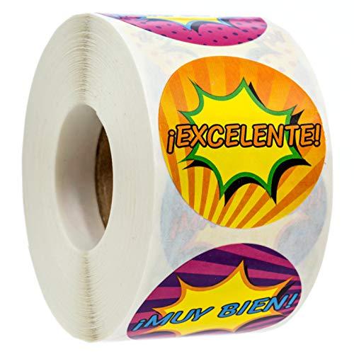 "SBLABELS Spanish Reward Stickers 500 Espanol Reward Stickers 8 Alternating Designs 1.5"" Reward Stickers"