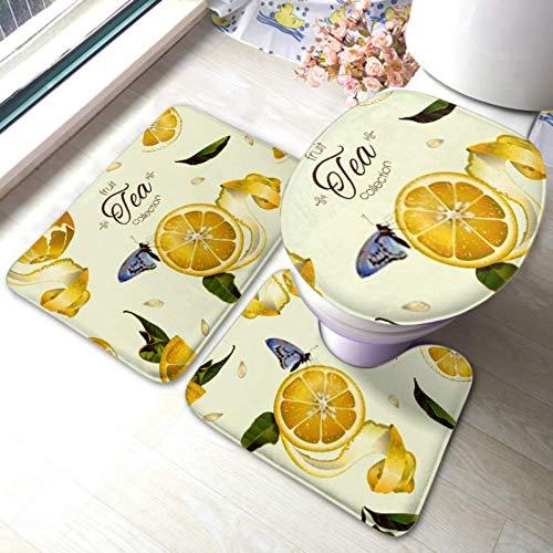YUXB WC-Teppich-Set Vektor-Früchtetee Nahtloses Muster Zitrone rutschfeste Badezimmerteppich-Matten-Sets , WC-Pad-Abdeckung Badematte und WC-Deckelabdeckung