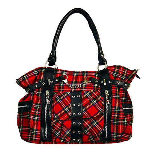 BANNED Clothing Punk Grand sac à main avec menottes en tartan Rouge goth