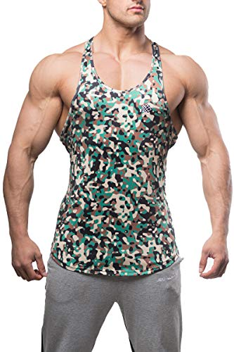 Jed North Bodybuilding Tank Top Gym Stringer Y-Back Muscle Racerback,Camo,Large