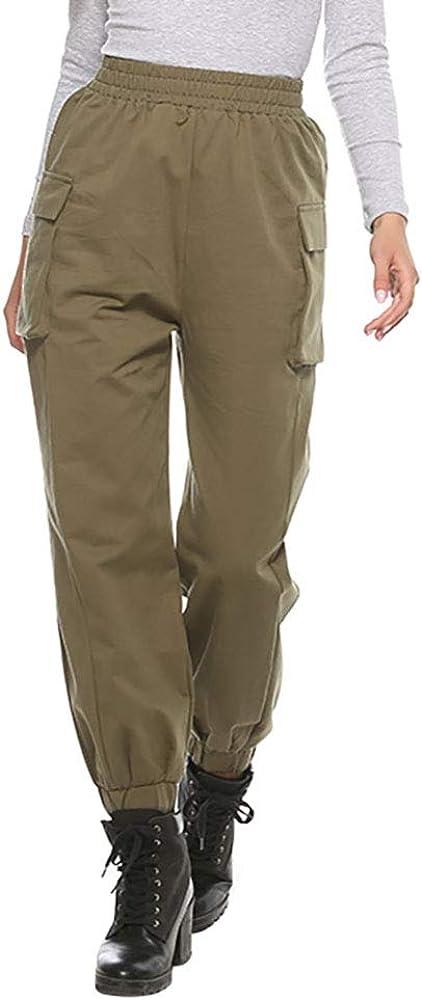 FENGQIYUNHAI Women Ealstic Waist Outdoor Cargo Pants Elastic Waist Trousers with Pockets