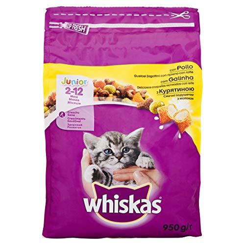 Whiskas Dry, Cibo Secco per Gatto Junior con Pollo, 950 g - 5 Confezioni