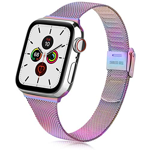 Oumida Compatible with Apple Watch Strap 38 mm 42 mm 40 mm 44 mm, Stainless Steel Replacement Strap with Metal Buckle for iWatch Series 6/5/4/3/2/1 (38 mm / 40 mm, Colourful)