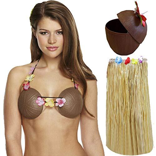 Labreeze Damen Hula Grass Rock Kokosnuss-BH Cup Hawaiian Strand Sommer Party Set