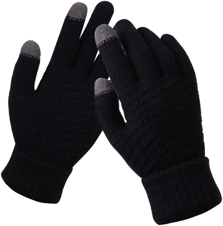 ZZTT Autumn and Winter Gloves Women Men Warm Stretch Knit Mittens Imitation Wool Full Finger Female Crochet Luvas Thicken Winter Touch Screen Gloves Warm and Comfortable Gloves (Color : Black)