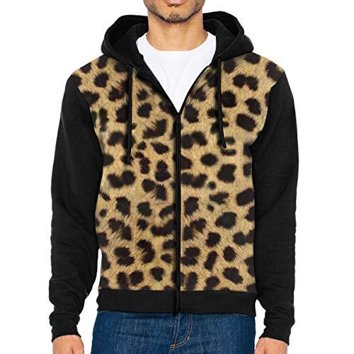 HOODSWOP Men's Full-Zip Hoodie Sweatshirt Leopard Animal Print Sportswear Jackets with Pockets Black