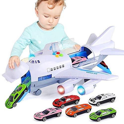 Kikioo 2-8 años de edad chicos Large Track inercia aleación de metal fundido Avión de juguete eléctrico retroceso regalos Vehículos Airbus Avión regalo de Aeronaves Con luces y los sonidos cumpleaños