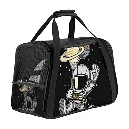 MEITD Cat Carrier,Pet Travel Carrier for Cats,Dogs Puppy Comfort Portable Foldable Pet Bag Airline Approved Astronaut Balloon Planets